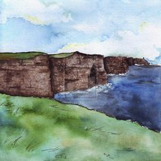 Ireland Experience: Cliffs of Moher (Nature) by Fabiinhu.deviantart.com on @deviantART #Watercolor #Ink #Drawing #Art #CliffsOfMoher #Galway #Ireland #Landscape #NoFilter