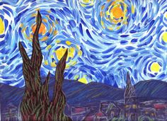 Starry Night Lesson Plan: Tempera sky, construction paper bottom with chalk details