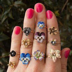 Vintage 14k Gold Enamel & Diamond Flower Ring | Etsy