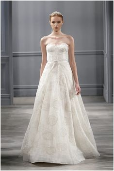 Monique Lhuillier romantic wedding dress on French Wedding Style Blog