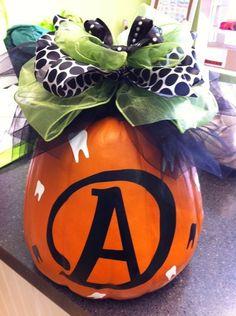 Custom preppy pumpkin for dental office