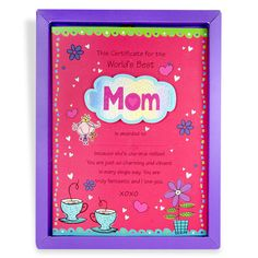 Certificate For World's Best Mom This certificate for the world's best mom is awarded to she's one in the million! you are just so charming and vibrant in every single way.you are truly fantastic and i love you. | Rs. 224 | Shop Now | https://hallmarkcards.co.in/collections/mothers-day-2016/products/gifts-for-mothers-day