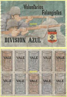 DIVISION AZUL VOLUNTARIOS FALANGISTAS CELANOVA-ORENSE CUPONES RACIONAMIENTO in Monedas y billetes, Billetes españoles, 1936-1950 | eBay