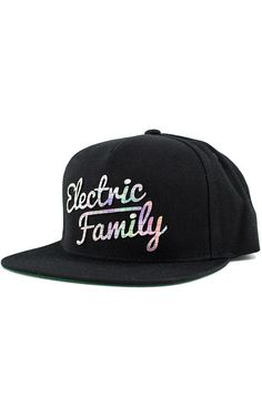 6ab4e759e06 Electric Family Hat Script Snapback Spectrum Black - Karmaloop.com Hats For  Men