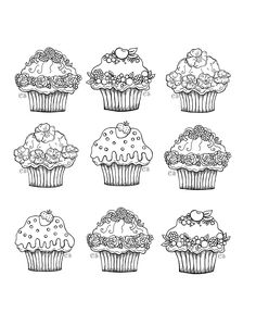 Printable cupcake coloring page Free PDF download at http