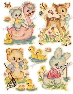MoRe SHaBby PeTeR RaBBiT NuRserY DeCALs. These are WATER SLIDE DECALS and so easy to use. We have a HUGE selection of decals to enhance any decor. Images Vintage, Photo Vintage, Vintage Pictures, Vintage Style, Motif Vintage, Vintage Prints, Vintage Greeting Cards, Vintage Postcards, Poster Vintage