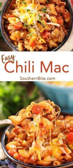 This Chili Mac recipe is quick easy ooey-gooey perfection. This Chili Mac recipe is quick easy ooey-gooey perfection. Mac Chili, Chilli Mac, Chili Mac Recipe, Chili Recipes, Pasta Recipes, Slow Cooking, Healthy Cooking, Cooking Recipes, Cooking Ideas