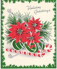 retro christmas poinsettia | Vintage Christmas Card Poinsettia Green Trim Silver Cord ... | Christ ...