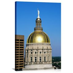 Solid-Faced Canvas Print Wall Art Print entitled Georgia State Capitol Dome Atlanta GA, None Fountain City, Atlanta Skyline, Panoramic Pictures, Georgia Girls, Capitol Building, Atlanta Georgia, Taj Mahal, Around The Worlds, Stock Photos