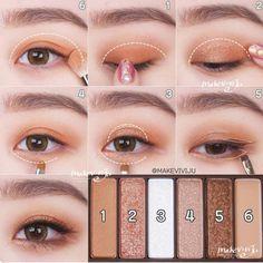 korean makeup – Hair and beauty tips, tricks and tutorials Korean Makeup Look, Korean Makeup Tips, Korean Makeup Tutorials, Asian Eye Makeup, Eye Makeup Steps, Natural Eye Makeup, Natural Beauty, Eyeshadow Tutorials, Asian Beauty