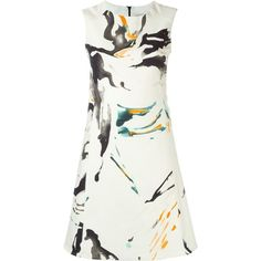 Eggs Splatter Print Short Dress (2.388.185 IDR) ❤ liked on Polyvore featuring dresses, vestido, white, multi color mini dress, print dress, mini dress, white mini dress and colorful dresses