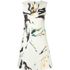 Eggs Splatter Print Short Dress ($178) ❤ liked on Polyvore featuring dresses, vestido, white, print dress, multi colored dress, multicolored dress, print mini dress and colorful dresses