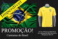 Promoção camiseta do Brasil: de 10 a 100 peças por R$14,90 de 101 a 200 peças por R$13,90 de 201 a 300 peças por R$11,90 Acima disso apenas com orçamento!!!!!