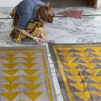 Lily Stockman block printing in Jaipur