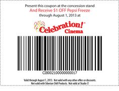 $1 off Pepsi Freeze through August 1st, 2013.  You must print this coupon. Not valid at Studio C!.