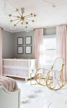A Perfect Pink & White Nursery | Marble Wallpaper Mural In Situ