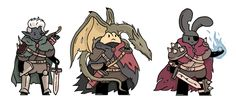 Some more fantasy pals from my twitter. As always, from the left: a ranger a beast master with his dragon baby and a spellsword.