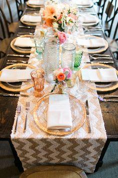 Simple Wedding Table Decorations, Wedding Table Settings, Place Settings, Wedding Tables, Magnolia Plantation, Chevron Table Runners, Punta Cana Wedding, Wedding Trends, Mesas
