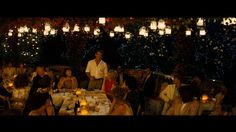 mamma mia wedding reception scene - I'm loving the outdoor reception vibe recently.  Warm summer night, glittering lights and flickering candles, long tables and benches for couples to sit.  This warms me from the inside like nothing else does recently.