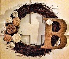 Front door wreath with initial idea