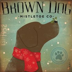 Brown Dog Mistletoe Company chocolate lab graphic by geministudio, $24.00