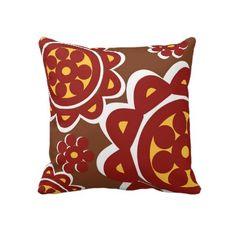 Bohemian Flowers Burgundy Throw Pillows by Bohemian Flowers, Accent Pillows, Decorative Throw Pillows, Burgundy, Decorative Pillows