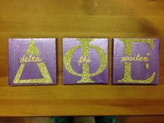 Big, Little, Dphie, Delta, Phi, Epsilon, Sorority, Craft, Canvas, Glitter, Gold, Letters