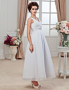 A-line V-neck Ankle-length Chiffon Wedding Dress Easebuy! Free Measurement!
