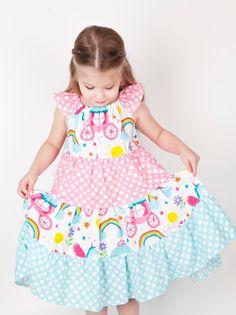 Unicorn and Rainbow Dress Ruffle Party Birthday by blumoondesign