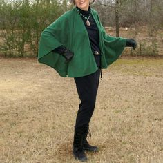Green Anti Pill Fleece Poncho, Wrap or Capelet--One Size Fits Most Petites