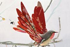 Birds made of fabric 5 Paper Birds, Fabric Birds, Fabric Art, Fabric Crafts, Paper Flowers, Felt Birds, Textile Sculpture, Art Textile, Soft Sculpture
