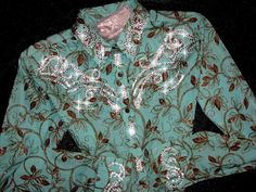 Just Fly Designs Bling Blue and Brown Floral Rodeo Queen Rodeo Shirt