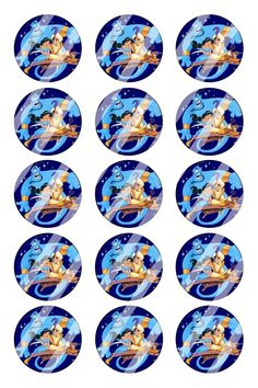 "Aladdin Jasmine Bottle Cap 1"" Circle Images #AJ5 (instant download or pre cut)"