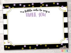 Black Stripes and Purple & Gold Polka Dots Printable Thank You Cards – Erin Bradley/Ink Obsession Designs Aqua Blue, Pink And Gold, Printable Thank You Cards, Gold Polka Dots, Black Stripes, Printables, Birthday, Frame, Parties