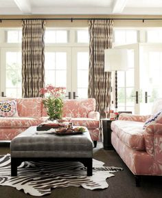 Betsy Burnham - chinoiserie sofa, soft rose and gray
