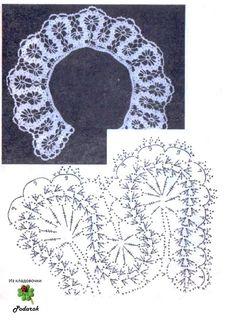 """Photo from album """"Брюгге"""" on Yandex. Diy Crochet Collar, Crochet Collar Pattern, Col Crochet, Crochet Lace Edging, Crochet Girls, Crochet Diagram, Thread Crochet, Irish Crochet, Crochet Doilies"""