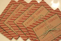 """""""Favorite Things"""" party for next Christmas - everyone brings their favorite thing to swap with other guests."""