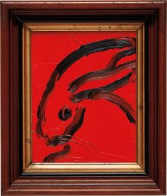 "HUNT SLONEM  Untitled (Bunny)  2013  Oil on wood, in artist's frame.  13 7/8 x 11 3/4 x 3 in. (35.2 x 29.8 x 7.6 cm)  Signed and dated ""Hunt Slonem 2013"" on the reverse, framed."