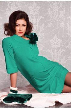 Rochie turcoaz - model frantuzesc