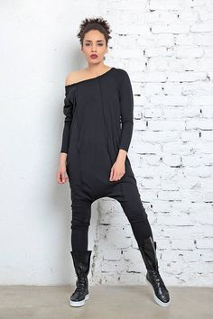 23756b06fd Black Jumpsuit Off Shoulder Top Harem Jumpsuit Black Cotton Jumpsuit