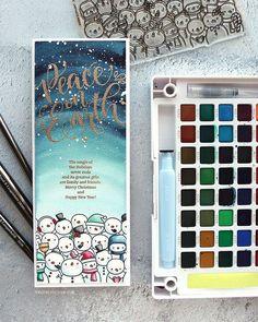 Mama Elephant: So Many Snowmen, Peaceful Wishes, painted the sky/ Sakura Koi watercolors, winter, kwernerdesign blog