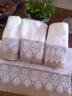 An idea for Irish Lace bedding ~! Guest Towels, Hand Towels, Tea Towels, Fabric Crafts, Sewing Crafts, Sewing Projects, Decorative Towels, Linens And Lace, Craft Ideas