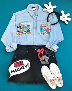 Vintage Mickey Mouse Disney Style Walt Disney World // Disney Style // Disney T… Vintage Mickey Mouse Disney Style Walt Disney World // Disney Style // Disney Tee // Disney Outfit // Wear to Disney Cute Disney Outfits, Disney World Outfits, Disney Themed Outfits, Disneyland Outfits, Disney Clothes, Teen Fashion Outfits, Outfits For Teens, Trendy Outfits, Cool Outfits