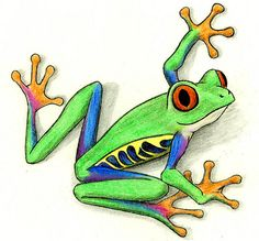 A wonderful tree frog tattoo someone designed for himself.