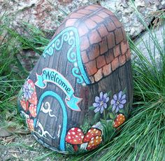 WELCOME HOUSE ROCK painted garden stone decor by MyGardenRocks