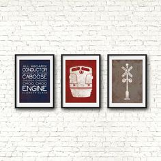 Vintage Train Nursery Art your little conductors vintage train nursery. This set of three prints, a train engine, a railroad crossing and a series Train Nursery, Travel Theme Nursery, Nursery Themes, Nursery Prints, Nursery Art, Nursery Decor, Nursery Ideas, Bedroom Ideas, Vintage Airplane Nursery