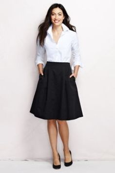 Loose knee length skirt with a structured button up. Already have a white dress shirt, just need the skirt. Great work look.