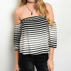 Fun Ivory/Black striped top! Last chance!! In a soft knit material this blouses features exposed shoulders and a cool mixed media stripe!  Follow me on Instagram @kfab333 for more items Tops Blouses