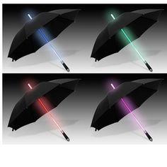 Fun on a rainy day. Wonder how good the umbrella is. $24.95 from www.coolexpress.com  Light Saber Umbrella
