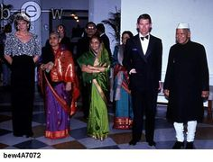 February 10, 1992: Prince Charles and Princess Diana attending a banquet given by Indian Vice-President Shankar Dayal Sharma (1918 - 1999)